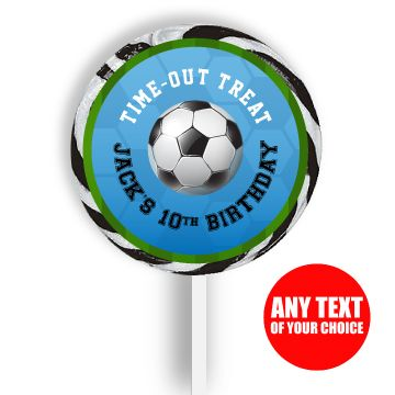 Soccer PERSONALIZED Large Lollipops - 12 Pk Party Supplies Canada - Open A Party