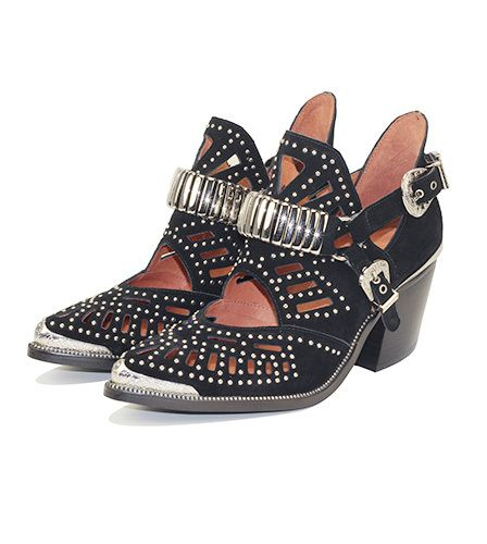 "Jeffrey Campbell: Calhoun Black - Silver embellished heeled western cut-out booties.   Fits true to size Measurements taken from size 6 3"" heel Leather upper, leather lining, synthetic sole"