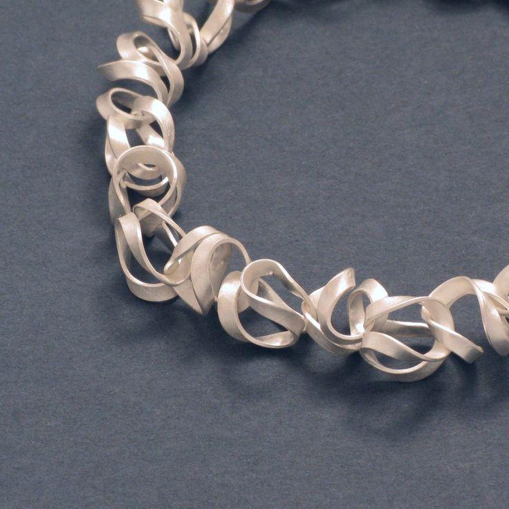 "Silver, dynamic/vibrant: ""Tagliatelle"" Silver Necklace - schmuckwerk-shop.de"