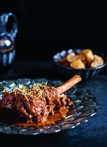 Masala spiced slow cooked lamb shanks