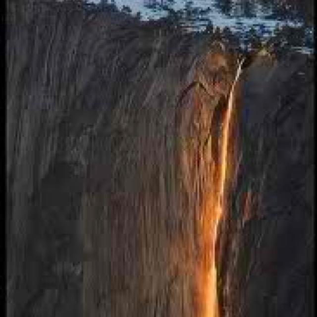 Horsetail falls rare February lava fall