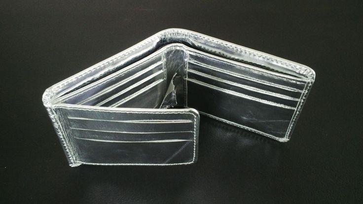 Silver Leather Wallet Genuine Real Supreme Leather Bi Fold Card Holder Men Purse #Handmade #Bifold