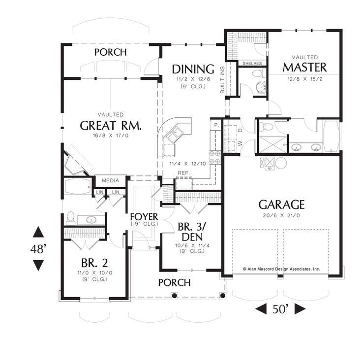 Main Floor Plan Of Mascord Plan 1146 The Godfrey