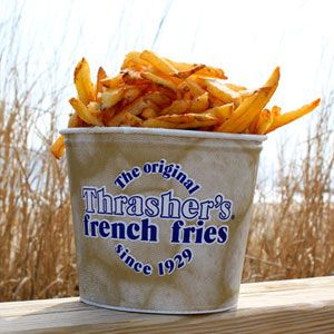 Literally the best fries in the entire world.   Thrasher's french fries in Ocean City Maryland.  Add just a splash of vinegar  to them.