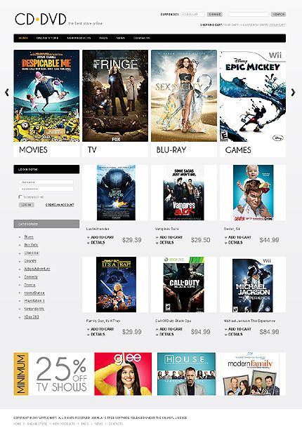 DVD Movies VirtueMart Templates by Di