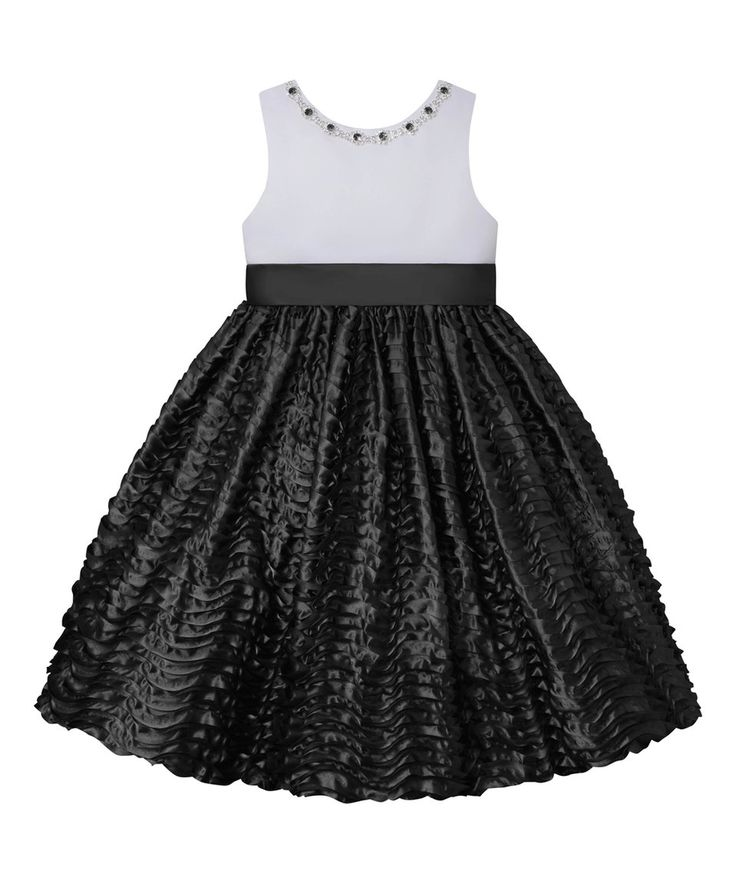 Take a look at this White & Black Embellished-Neck A-Line Dress - Toddler & Girls today!