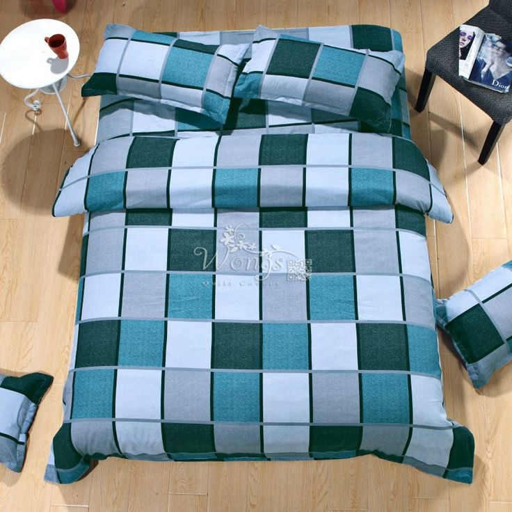 ==> [Free Shipping] Buy Best 2017 Check Stripped Fashion Sanding Bedding Set Duvet Cover/Bedsheets/Pillowcases Home Textile Reactive Printing 4pcs Bed Linen Online with LOWEST Price | 32750373662