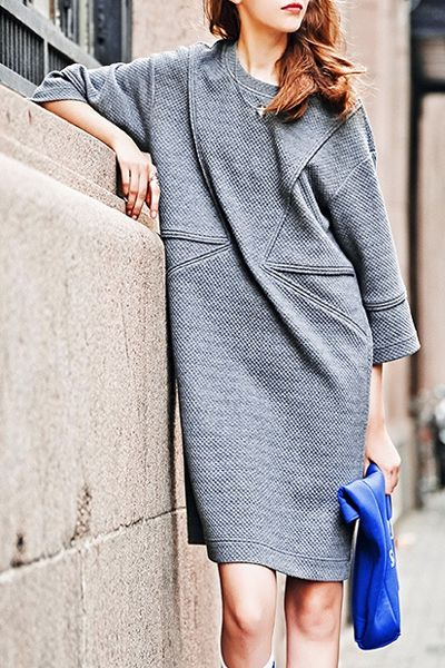 3/4 Sleeve Loose-Fitting Sweater Dress