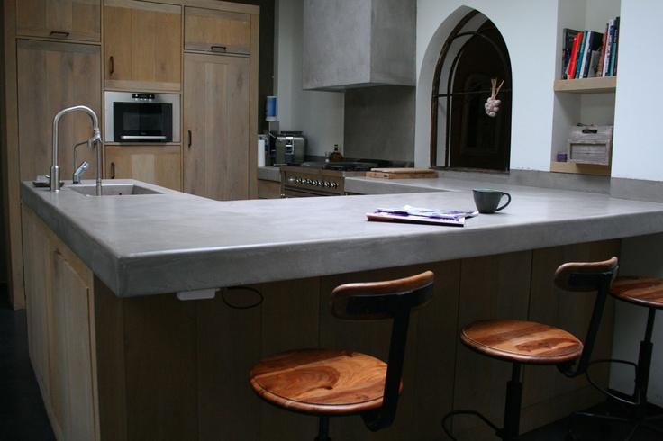 Keuken Met Betonlook Blad : Unieke keuken met stoer Betonlook blad. Prachtige natuurlijke kleuren
