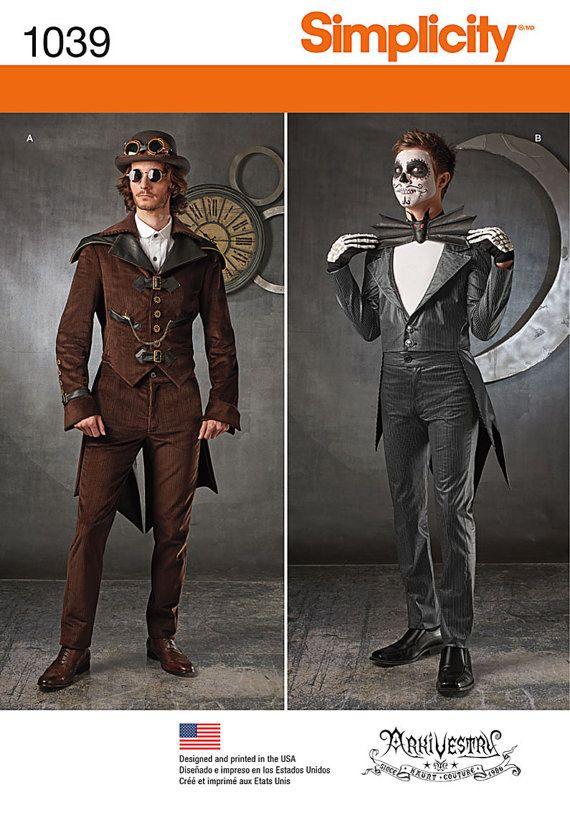 Patron de couture pour Costume Mens Steampunk & Jack Skellington Costume…