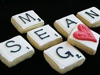 Cookie Decorating EssentialsDesserts, Valentine'S Day, Shower Ideas, Scrabble Cookies, Sugar Cookies, Scrabble Tiles, Bridal Shower, Games Night, Scrabble Letters