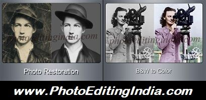 PHOTO EDITING INDIA offers you Top Quality Photo Retouching, Damaged/Torn Photo Restoration, Beauty Retouching, Skin Retouching, Wrinkle Removal, Fix Flaws in Images, Color the Black and White Photos, Remove Red Eye, Contrast/Exposure/Color Corrections and other Image Enhancement Services for affordable prices..!!! Visit PhotoEditingIndia.com