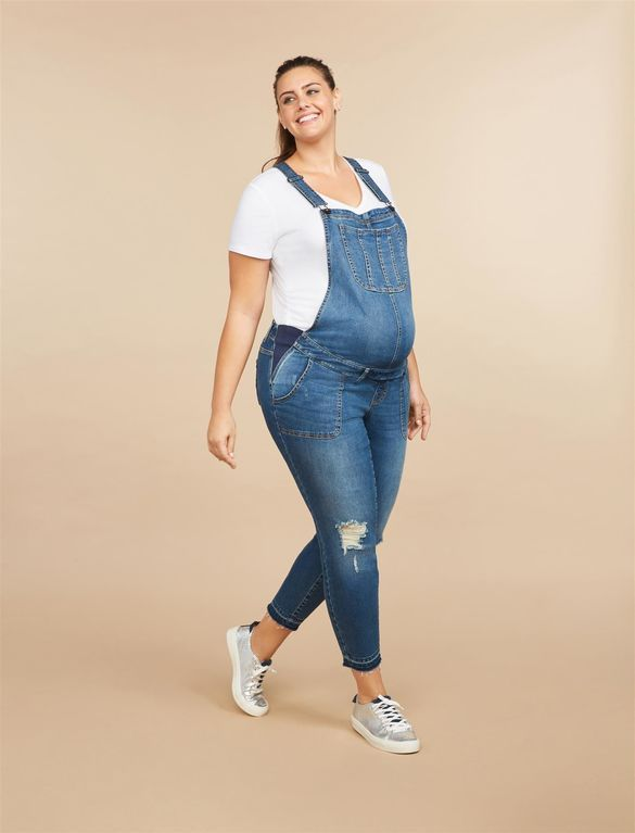 8fd0fcbafa96f Plus Size Side Panel Letdown Hem Maternity Overalls, Medium Wash ...