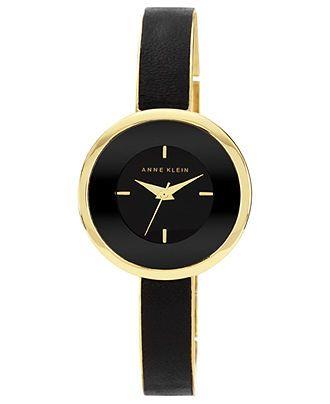 Anne Klein Watch, Women's Black Leather and Gold Tone Bracelet 31mm AK-1232BKGB - Anne Klein - Jewelry & Watches - Macy's