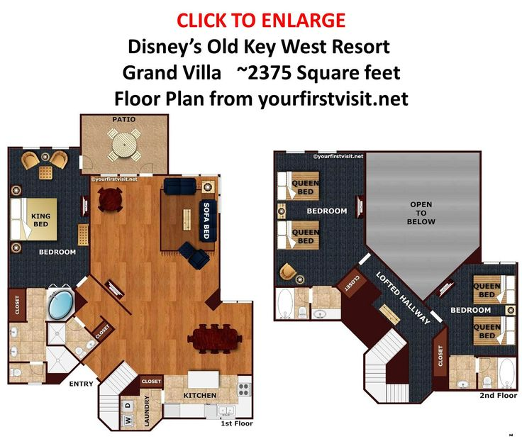 Grand villa floor plan disneys old key west resort from 3 bedroom villa floor plans