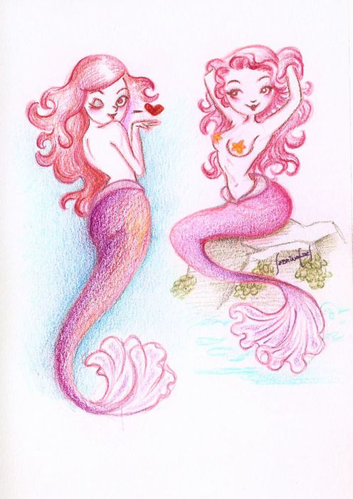cute mermaid drawing