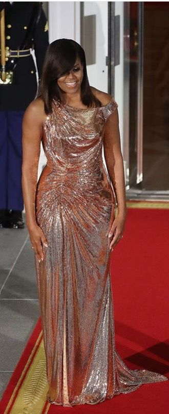 FirstLady Of The United States MichelleObama 14th & #Last #StateDinner First Lady Michelle Obama in Versace.