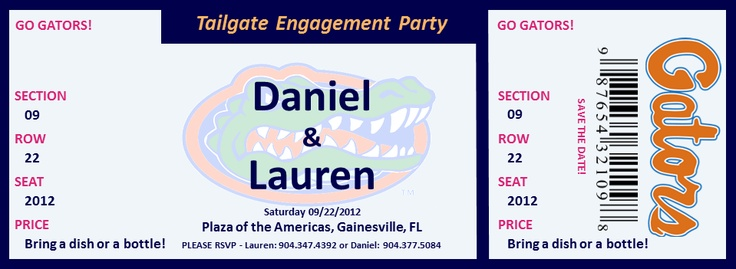 Engagement Party University of Florida Gators Ticket