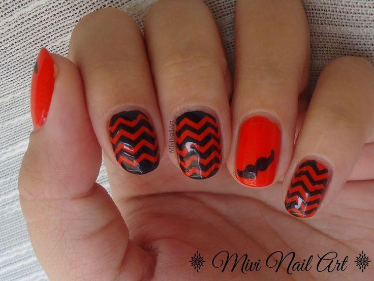 Manicura Naranja y Negro ZigZag // Movember // Reto Colores Cosas de Chicas 2