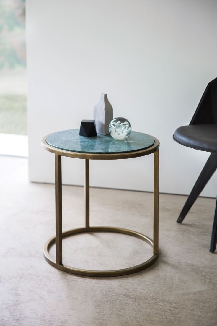 Siena #side_table. D50 x H50cm.  Finished in Florentine Gold with Verde Jade #marble.