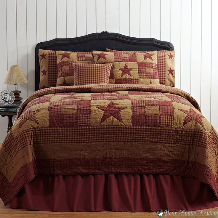 Bon Red Brown Country Rustic Primitive Star Twin Queen Cal King Quilt Bedding  Set