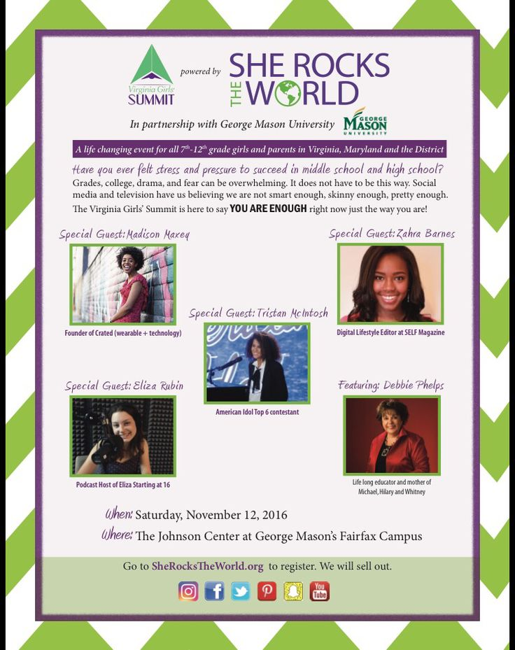 Register for this terrific event on November 12 th at George Mason University! #STEAMdInc.Org #GirlsRockTheWord