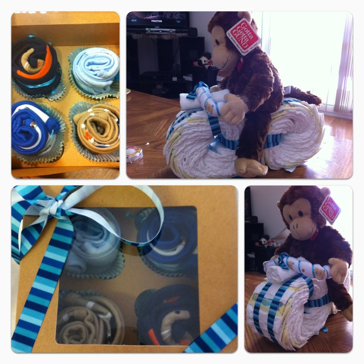 First time creating these, motorcycle made out of baby diaper and cupcakes made out of baby bibs:-)