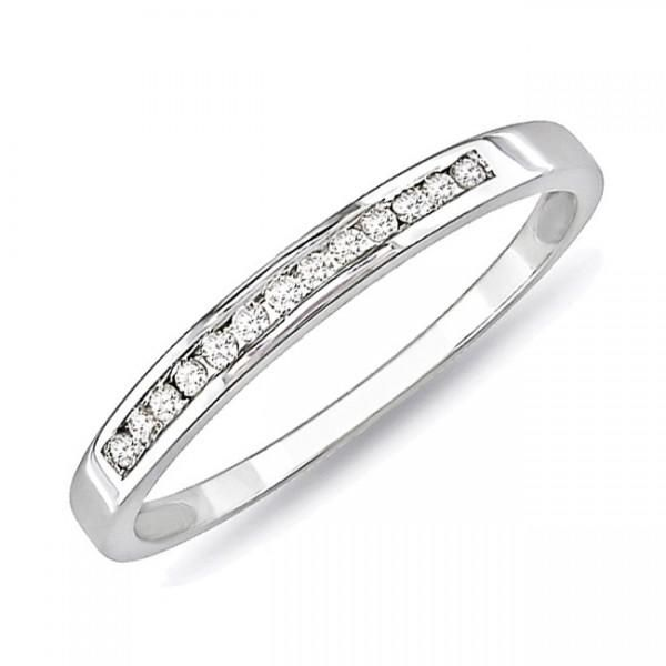 Cool Channel Set Engagement Ring And Wedding Band On Finger