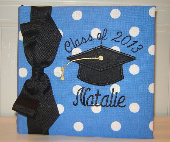 Graduation Album with Appliqued Mortar Board by doodlebugsga Purchase at www.doodlebugsga.etsy.com