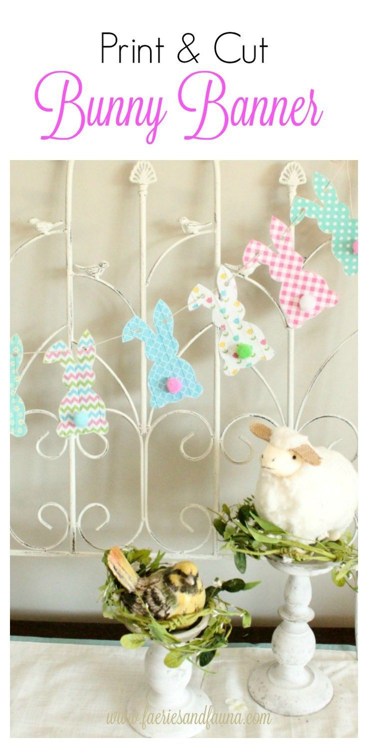 Bunny Bum Banner The cottontail bunny bums are the cutest spring decor I have seen.  You can find them in various banners, cookies,  flower pots, cakes and so on.  I love them all!  This bunny banner is designed to be easy enough for children but can be used throughout the home for Spring or Easter.  Hang it over a window, the corner of a picture, over a door, your mantel, or a backdrop for an Easter…