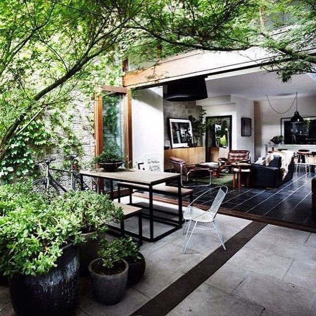 SnapWidget | Regram from @adesignersmind they publish seriously beautiful pics- I love the monochrome magic here with a splash of nature green #outdoor #outdoorgarden #slidingdoors #beautifultrees #greatdesign