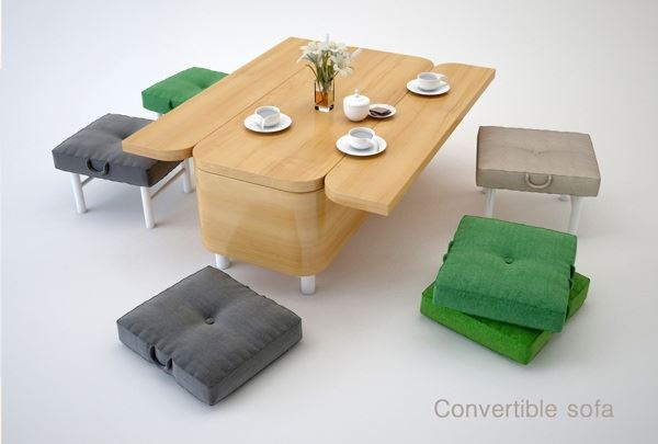 Convertible coffee-table/sofa/dining room table + stools