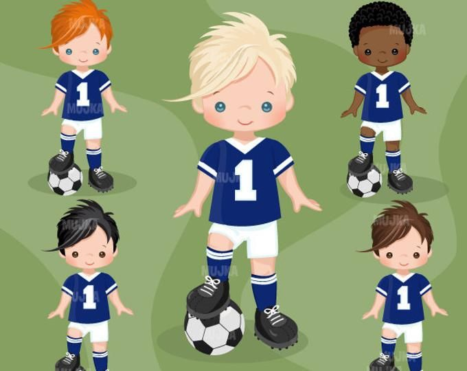Soccer Clipart Sport Graphics Boys Soccer Player Characters Commercial Use Kids Scrapbooking Worldcup Chores Sports Graphics Soccer Boys Soccer Players