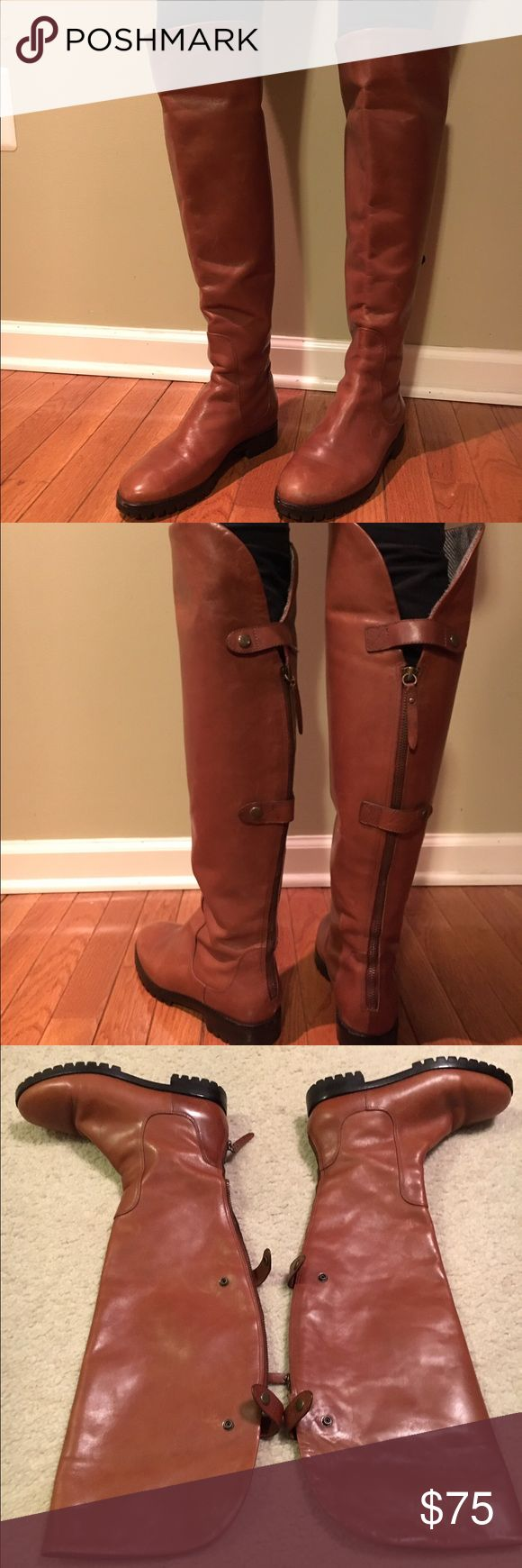 """Cole Haan Air Chatham Over-The-Knee Boot Smooth burnished calfskin upper with antique brass D-ring ornament and strap detail. Fully leather lined and padded leather sock lining. Suede buffed outsole with concealed Nike Air® technology for ultimate comfort. 14"""" circumference, 19"""" shaft height.  3 1/2"""" stacked heel. Imported. Scratches in various areas including toe. Nothing that wouldn't happen with normal wear and tear but not in perfect condition (hence the steal of a price!) Cole Haan…"""