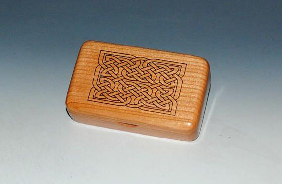 Handmade Laser Engraved Celtic Knot on Cherry Tiny Wood Box - Gift Box Wood Jewelry Box Wood Keepsake Box by BurlWoodBox -Small Wooden Box by BurlWoodBox
