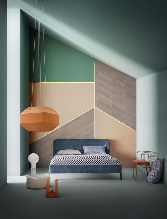 from runway fashion to company branding kaleidoscopic designs are popping up everywhere here are slanted wall bedroombedroom - Bedroom Wall Ideas