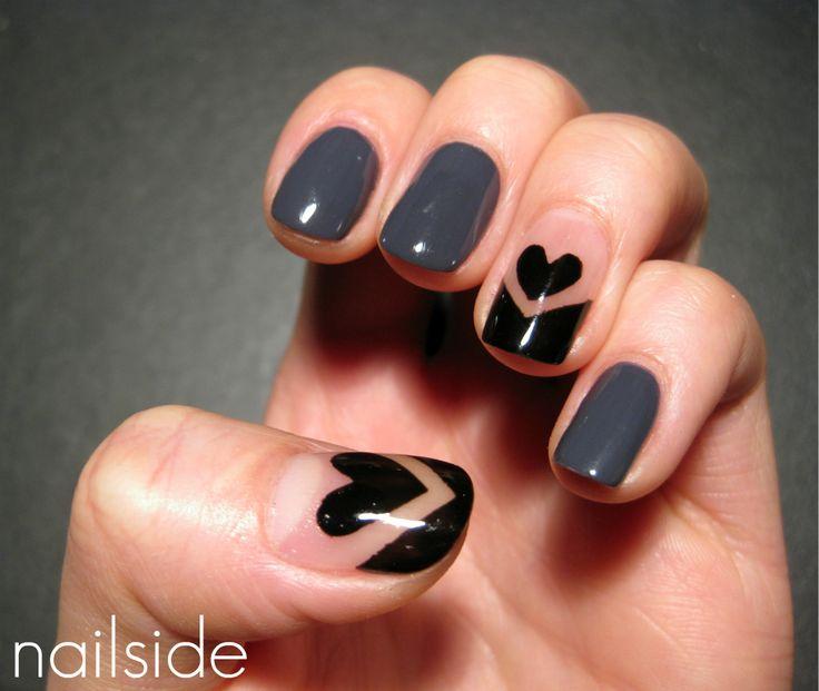 Nailside: Nude with hearts: Idea, Black Heart, Nailart, Nail Designs, Nails, Beauty, Valentine, Nail Art
