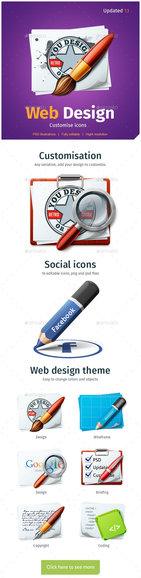 WEB Design customize icons — Photoshop PSD #android icons #web design • Available here → https://graphicriver.net/item/web-design-customize-icons/10411017?ref=pxcr