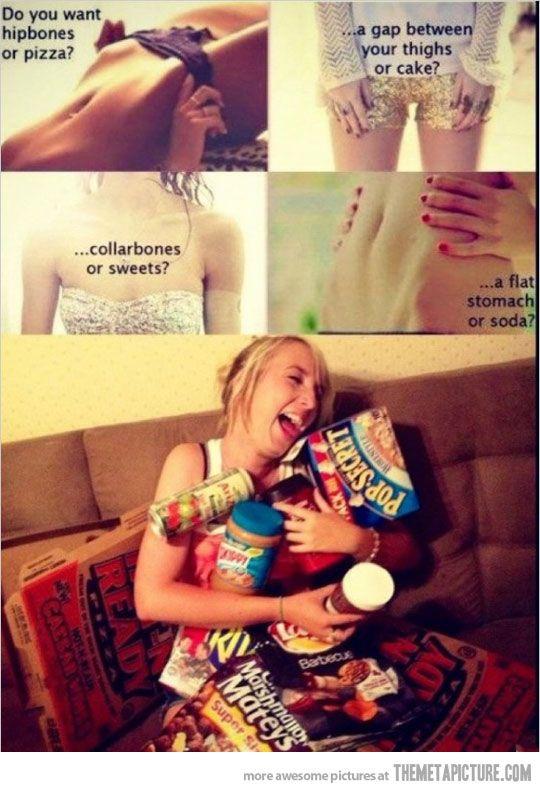 hahahahaha i'm still laughing.: Thighs Gap, Flats Stomach, Hip Bones, Pizza, My Life, Funny, Junk Food, True Stories