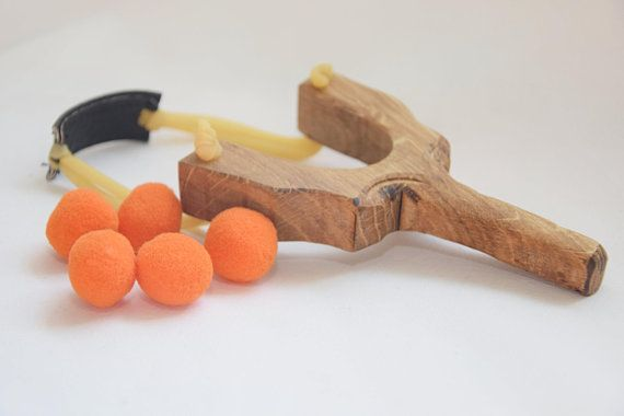Handmade Wooden Slingshot Wooden Catapult with Rubber Band Kids Toy Present