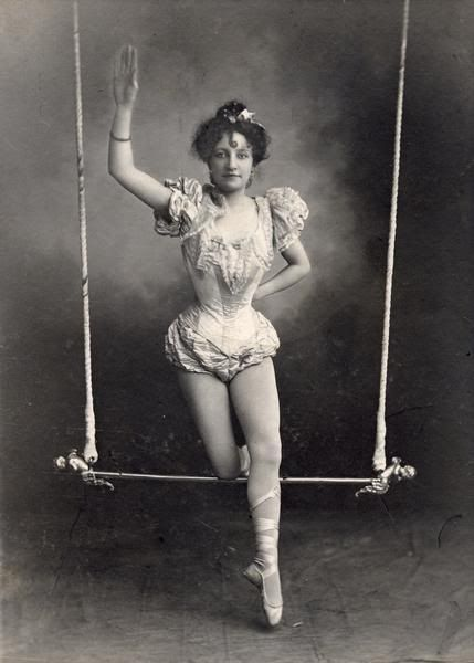 vintage circus trapeze artist.  i wonder how many hours they spent training, what they did for injuries, how they sewed their costumes. i want to know more about the performers..