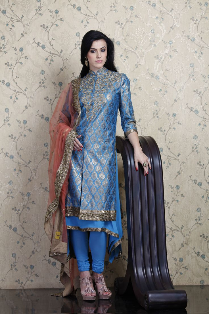 Blue zari brocade achkan anarkali | Festive Fashion ...
