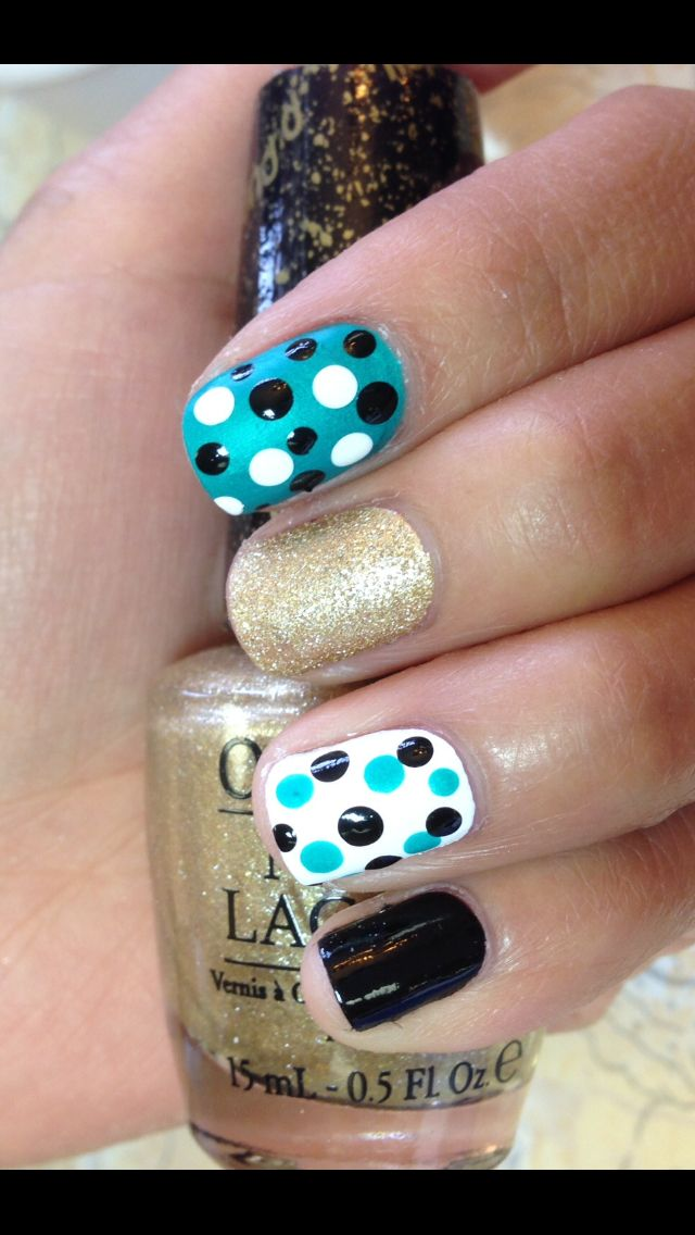 love polka dots nail art.. really cute for short nails