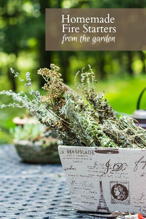 Homemade fire starters from your garden, using trimmings from herbs and flowers are beautiful, fragrant, and functional for your home. #garden #gardening #herbs #firestarter #diy #driedherbs