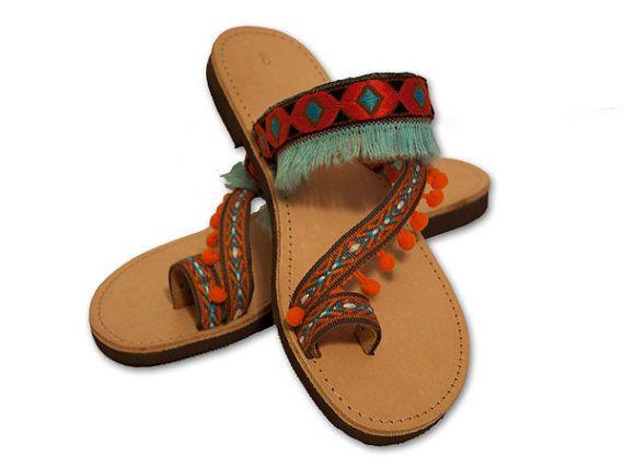Greek leather sandal , Orange brown blue sandal , boho sandal , fringe sandal , boho sandal , pom pom sandal , hippie sandal, KALYMNOS
