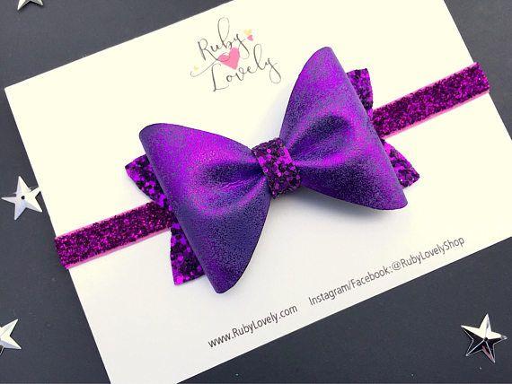 Diadema de Halloween cabeza de calabaza arco brillo púrpura
