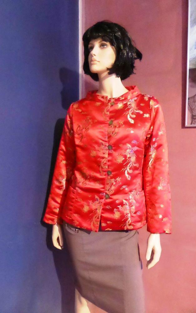Bitte Kai Rand Red Chinese Collar Jacket Size 14