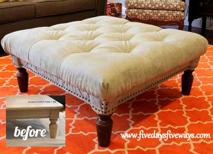 DIY tufted ottoman from an old coffee table (good for child-proofing): Tables Redo, Idea, Living Rooms Design, Rugs Patterns, Coff Tables, Diy Tufted, Tufted Ottomans, Design Home, Old Coffee Tables