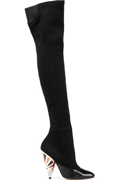 Givenchy - Leather-paneled Suede Over-the-knee Boots - Black - IT