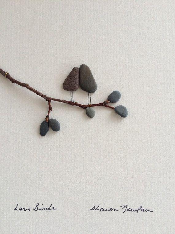 pebble art 8 by 10 by sharon nowlan love birds by PebbleArt